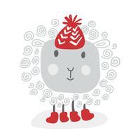 Handdraw Ovelha branca do doodle engraçado do vetor no chapéu vermelho do inverno, esboço para seu projeto. Isolado no fundo branco