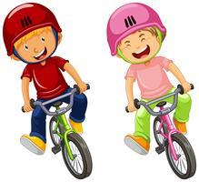 Urban Boys andar de bicicleta no fundo branco vetor