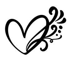 Sinal de coração amor caligráfico vintage