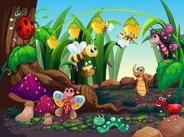 Muitos insetos que vivem no jardim vetor