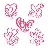 """Conjunto de palavra de caligrafia vermelho """"amor"""" e corações"""