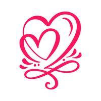 Dois corações caligráficos de amante
