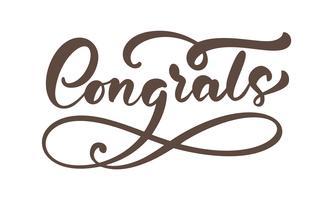 """Mão desenhada letras de caligrafia texto isolado """"Parabéns"""""""