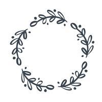Natal escandinavo mão desenhada vetor floral grinalda com lugar para o seu texto. Isolado no fundo branco para design retro florescer