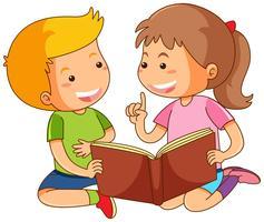 Menino e menina lendo livro de histórias vetor