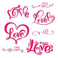 """Conjunto de palavra de caligrafia vermelha """"amor"""""""