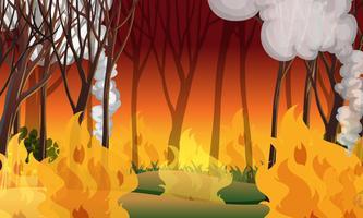 Uma paisagem de desastre de incêndios florestais vetor