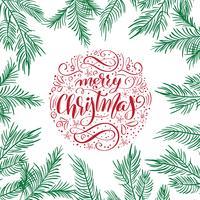 Projeto de rotulação caligráfico do texto do vetor do Feliz Natal com ramos do abeto. Tipografia criativa para o cartaz de presente de saudação de feriado. Faixa de estilo de fonte de caligrafia
