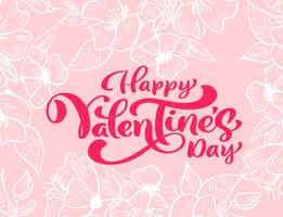"""Frase de caligrafia """"feliz dia dos namorados"""" com floreios e corações"""
