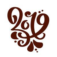 Handwritting vector caligrafia texto 2019. Escandinavo mão desenhada ano novo e Natal lettering número 2019. Ilustração para cartão de felicitações, convite, férias tag