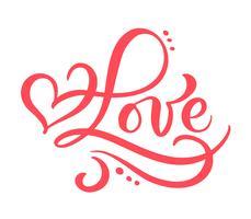 Palavra de caligrafia vermelha amor. Vector dia dos namorados mão desenhada letras. Cartão do Valentim do projeto do feriado do coração. decoração de amor para web, casamento e impressão. Ilustração isolada