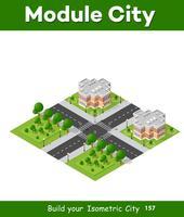 Distrito de quarteirão de cidade bloco 3D isométrico vetor