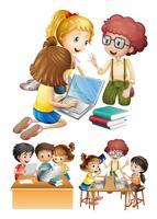 Crianças trabalhando e estudando juntos
