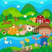 Agricultor e animais de fazenda na fazenda