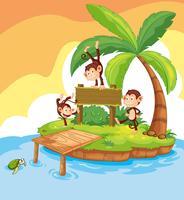 Três macacos na placa de madeira vetor