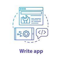 escrever o ícone do conceito de aplicativo. ilustração de linha fina de ideia de desenvolvimento de software. orquestração de serviço. ferramentas para desenvolvedor front-end e back-end. gerenciamento de aplicativos. desenho de contorno isolado de vetor