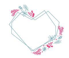 Quadro de geometria de mão desenhada coração grinalda de Natal estilizado quadrado para cartão com flores e folhas. Ilustração escandinava do vetor com lugar para seu texto