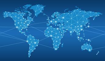 Mapa sem emenda do sistema de rede global. vetor