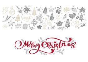 Texto vermelho do vetor da rotulação da caligrafia do Feliz Natal com elementos do xmas do inverno no estilo escandinavo. Tipografia criativa para cartão Holiday Greeting Poster