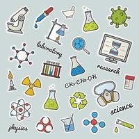 patches de laboratório químico. Ciência. conjunto de adesivos, alfinetes e emblemas de cores. máscara de gás, molécula, átomo, risco biológico, símbolos de reciclagem e radiação, tubos de ensaio, frasco com líquido. ilustrações isoladas de vetor
