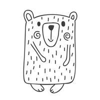 Entregue a ilustração desenhada do vetor de um urso engraçado bonito do inverno que vai para uma caminhada. Design de estilo escandinavo de Natal. Objetos isolados no fundo branco. Conceito para crianças
