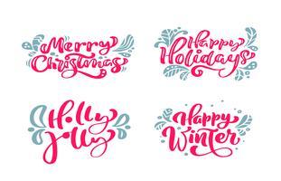 Definir o vetor texto caligráfico Lettering feliz Natal modelo de cartão de design. Tipografia criativa para o cartaz de presente de saudação de feriado. Faixa de estilo de fonte de caligrafia