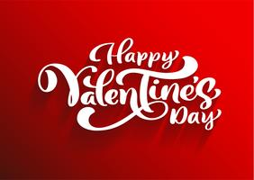 Feliz dia dos namorados cartão romântico, cartaz de tipografia com caligrafia moderna. Estilo vintage retrô. Ilustração vetorial