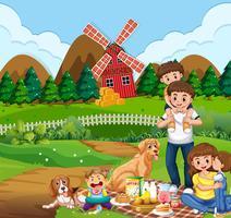 Piquenique em família na zona rural vetor