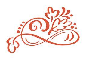 Elementos florais desenhados mão do projeto do outono isolados no fundo branco para o projeto retro. Caligrafia de vetor e lettering ilustração