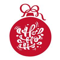 Ho ho ho texto do vetor da rotulação da caligrafia do vintage do Natal com o inverno vermelho que tira o sino escandinavo como decoração do quadro. Para design de arte, estilo de brochura de maquete, capa de ideia de bandeira, folheto de impressão de livr