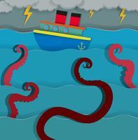 Monstro do mar atacando o barco de fighing