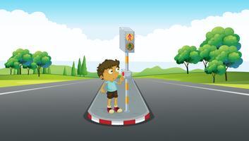 Garoto usando sinal para atravessar a estrada vetor