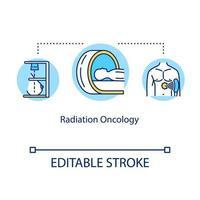 ícone do conceito de oncologia de radiação. ilustração de linha fina de ideia de tratamento de câncer. ajuda médica. radiologia. irradiação de tumor. desenho de cor rgb de contorno isolado de vetor. curso editável vetor