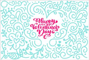 Cartão da frase da caligrafia dia feliz do Valentim s com coração monoline do flourish. Vector dia dos namorados mão desenhada letras. Cartão do Valentim do projeto do doodle do esboço do feriado. Ilustração isolada