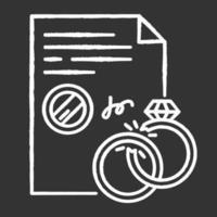 divórcio ícone de giz branco sobre fundo preto. fim do casamento. separação legal. dissolução do casamento. romper. serviços notariais. apostila e legalização. ilustração vetorial isolado quadro-negro vetor