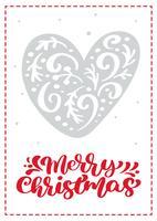 Cartão escandinavo de Natal com coração de vetor. texto de rotulação de caligrafia de Natal feliz. Ilustração de mão desenhada objetos isolados