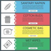 conjunto de modelos de banner da web de acessórios higiênicos. absorventes higiênicos, cotonetes, bolsa cosmética, lenços umedecidos. itens de menu de cores do site com ícones lineares. conceitos de design de cabeçalhos de vetor