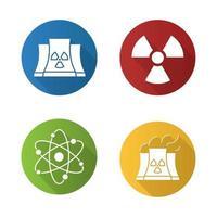 conjunto de ícones de sombra longa de design plano de energia atômica. usina nuclear com símbolos de fumaça, radiação e átomo. ilustração da silhueta do vetor