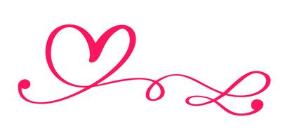 Vector vermelho dia dos namorados mão desenhada coração caligráfico. Elemento de Design de férias. Decoração de amor de ícone para web, casamento e impressão. Isolado, caligrafia, lettering, ilustração