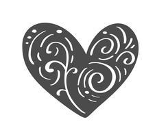 Mão desenhada escandinavo Velentines Day coração com silhueta de ícone de floreio ornamento. Símbolo de contorno simples dos namorados de vetor. Elemento de design isolado para web, casamento e impressão vetor