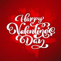 Feliz dia dos namorados tipografia vector design para cartões e cartaz. Texto do vetor do Valentim em um fundo vermelho dos feriados. Ilustração de celebração de modelo de design