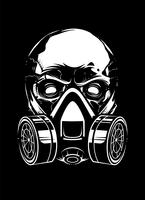 Crânio branco com respirador em fundo preto vetor