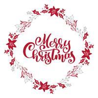 Texto do vetor da caligrafia do Feliz Natal no quadro floral da grinalda do xmas. Design de letras em estilo escandinavo. Tipografia criativa para cartaz de presente de saudação de feriado