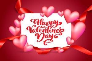 Vector texto feliz dia dos namorados tipografia design para cartões e cartaz. Citações do Valentim em um fundo vermelho dos feriados. Ilustração de celebração de modelo de design
