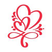 Dois amantes de coração vermelho. Caligrafia artesanal vector. Decoração para o cartão para o dia dos namorados s, caneca, sobreposições de foto, impressão de t-shirt, panfleto, design de cartaz