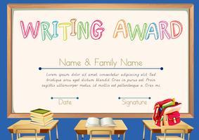 Prêmio de escrita com fundo de sala de aula vetor