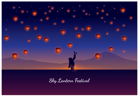 Mulher, taiwan, céu, lanterna, festival vetor