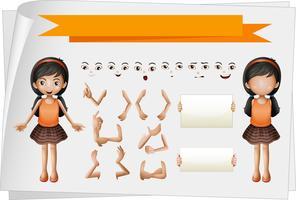 Menina, facial, mão, expressões vetor