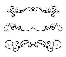 Vector linha vintage divisores elegantes e separadores, redemoinhos e cantos ornamentos decorativos. Linhas de floral linhas de design de filigrana. Flourish curl elementos para convite ou ilustração de página de menu