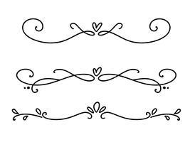 Vector vintage linha divisores de valentine elegante e separadores